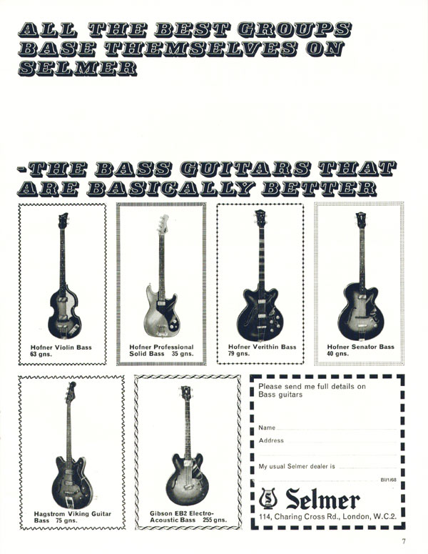 Selmer advertisement (1968) All the Best Groups Base Themselves on Selmer