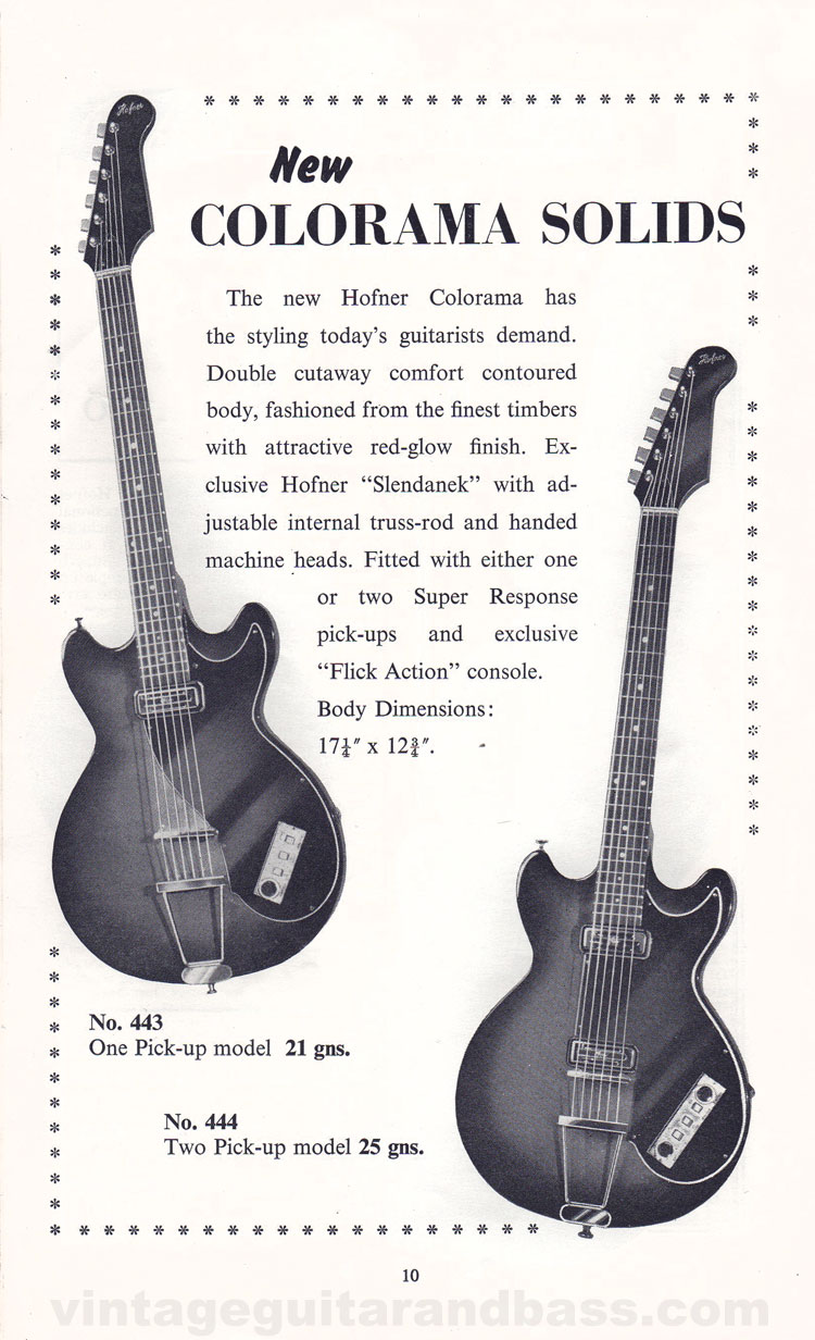 1960 Selmer Hofner guitar catalog page 6 - details of the Hofner V1, V2 and V3 solid body guitars