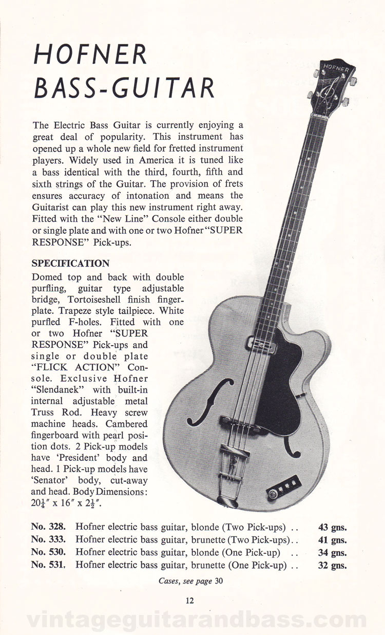1960 Selmer Hofner guitar catalog page 6 - details of the Hofner bass guitar