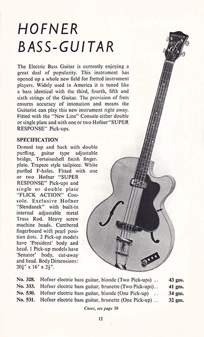 1960 Selmer guitar and bass catalogue page 12