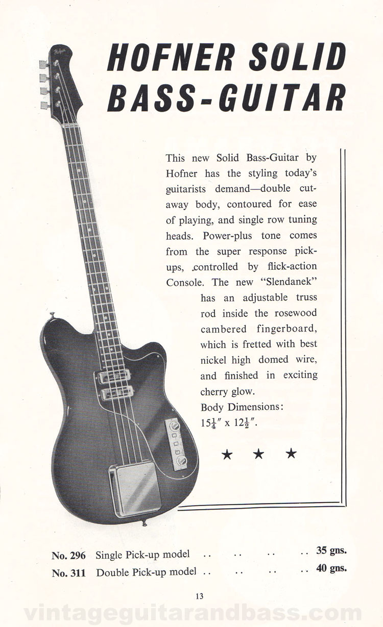 1960 Selmer Hofner guitar catalog page 13 - details of the Hofner solid bass guitar