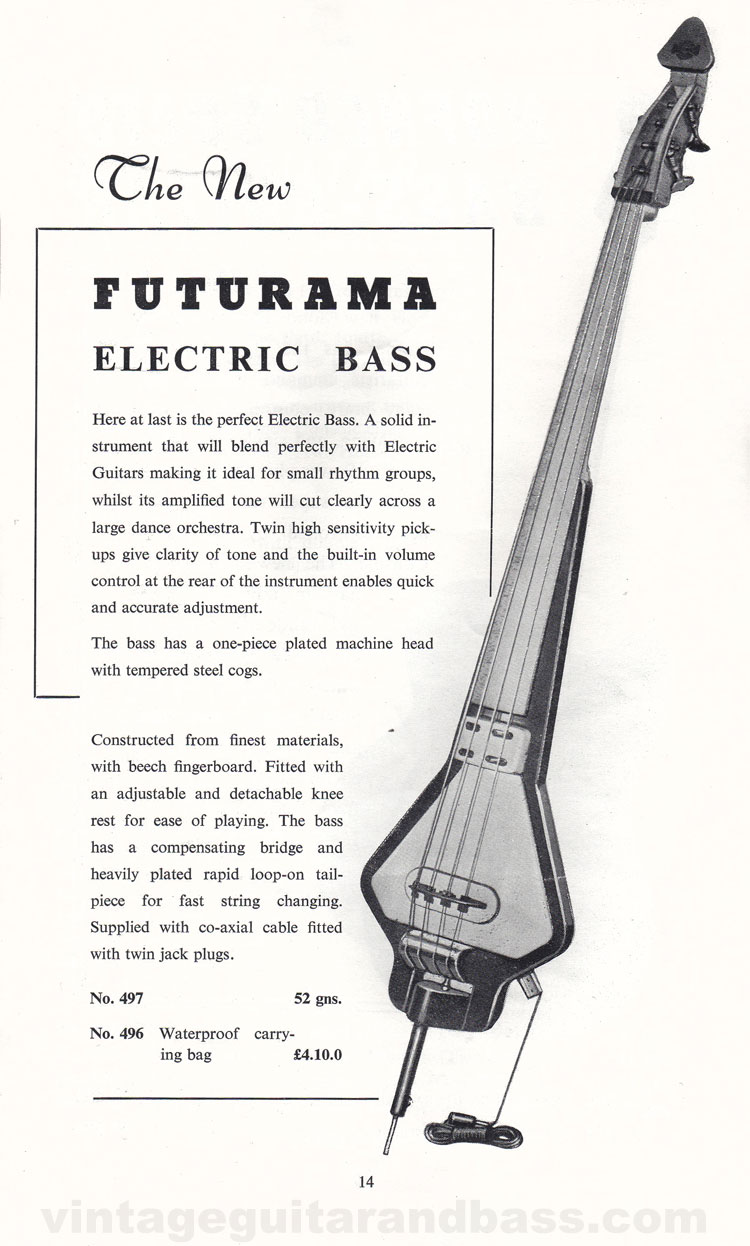 1960 Selmer Hofner guitar catalog page 14 - details of the Futurama electric upright bass