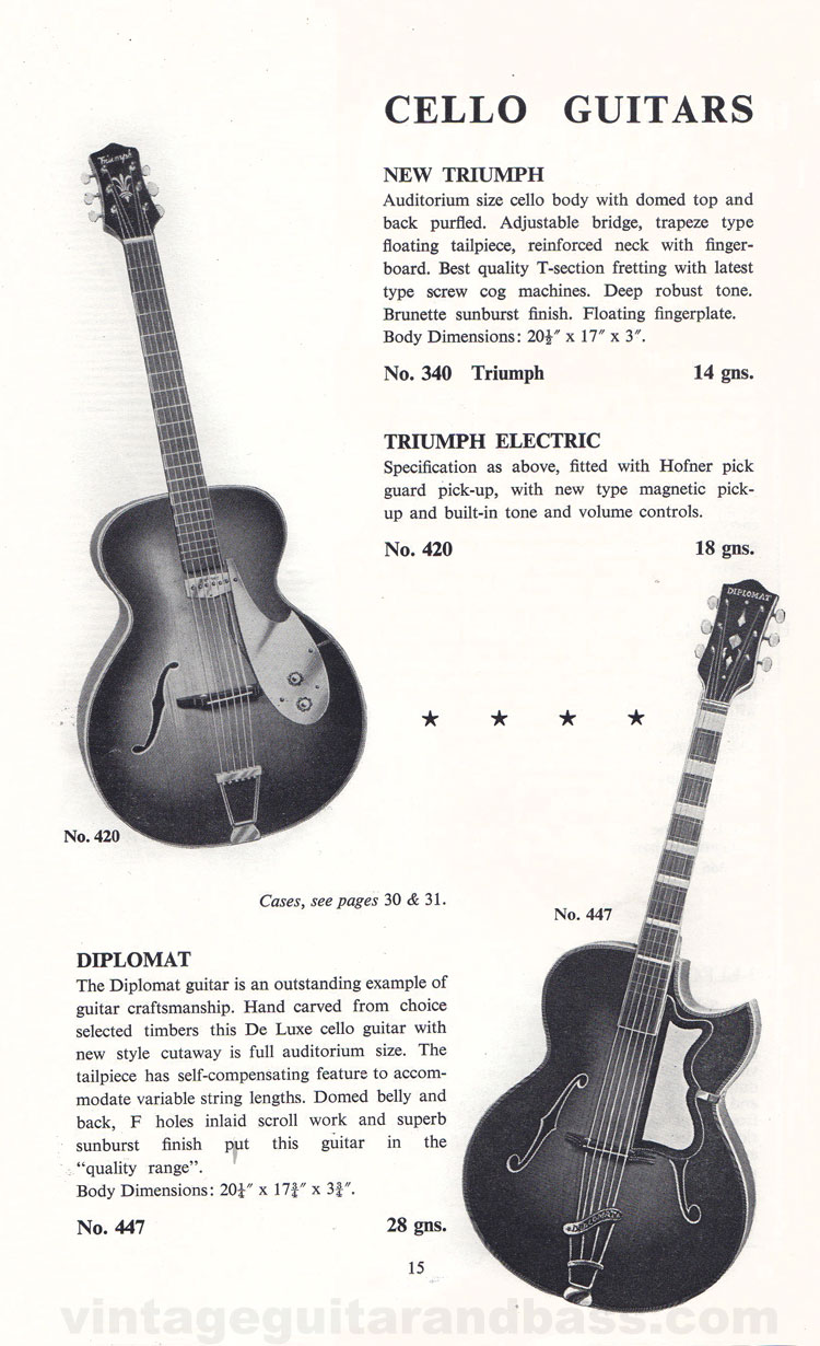 1960 Selmer Catalogue page 15 - Selmer New Triumph, Triumph Electric and Diplomat
