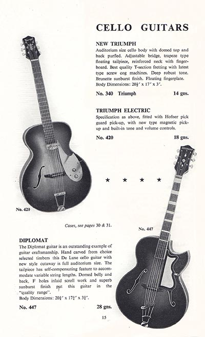 1960 Selmer guitar and bass catalogue page 15