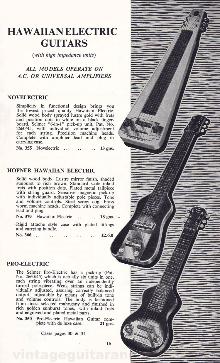1960 Selmer Hofner guitar catalog page 16 - details of the Selmer Novelectric, pro-electric and Hofner Hawaiian guitars