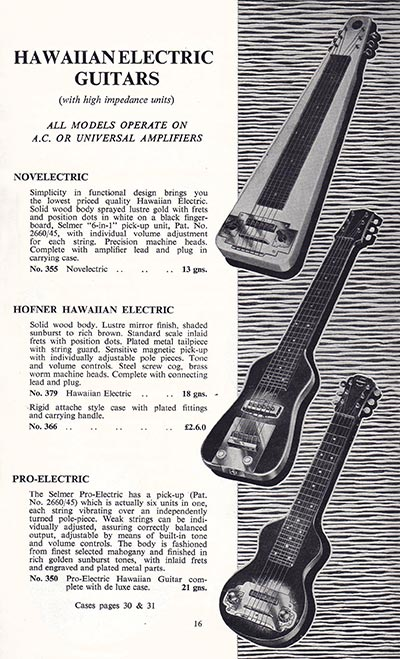 1960 Selmer guitar and bass catalogue page 16