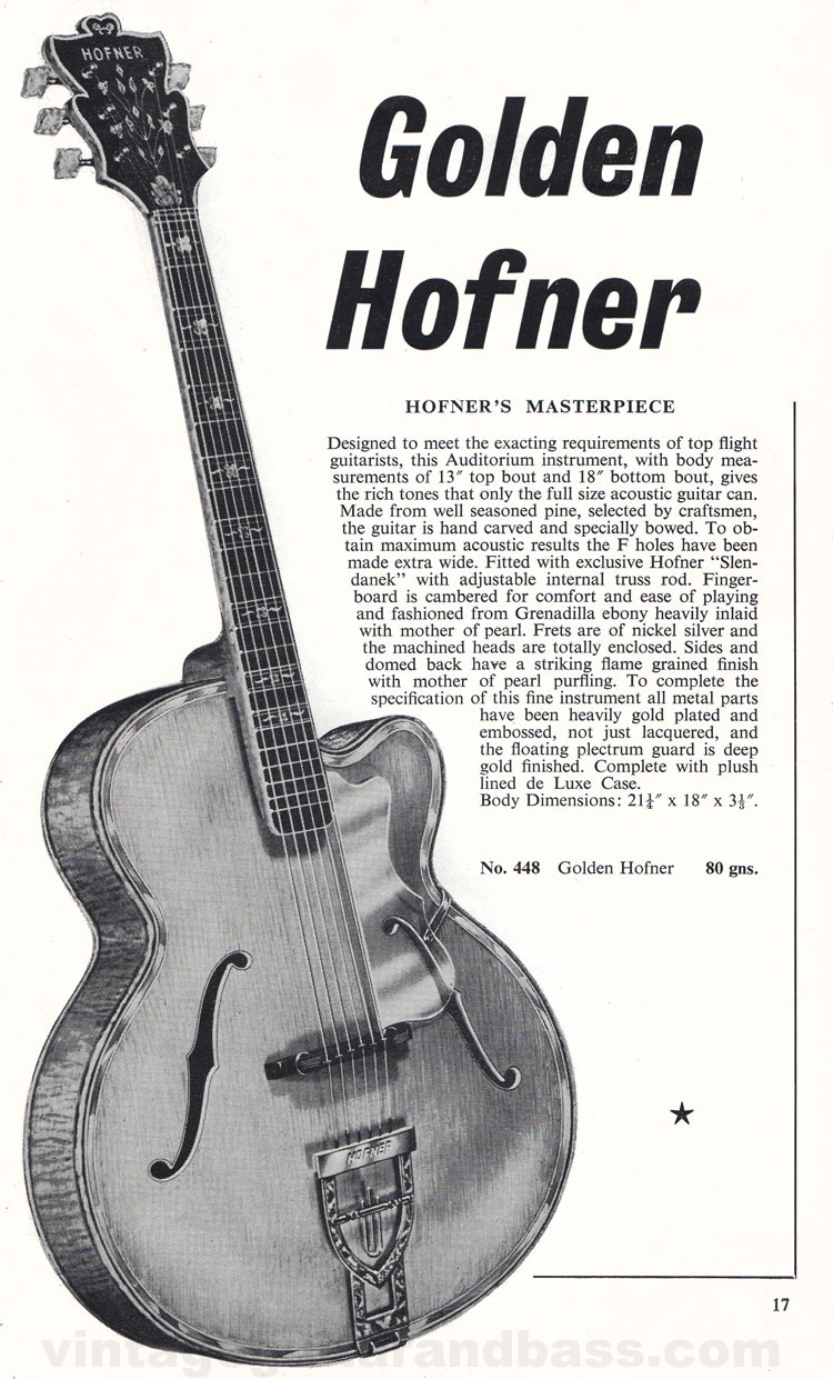 1960 Selmer Hofner guitar catalog page 17 - details of the acoustic Golden Hofner guitar