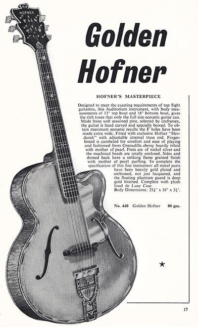 1960 Selmer guitar and bass catalogue page 17