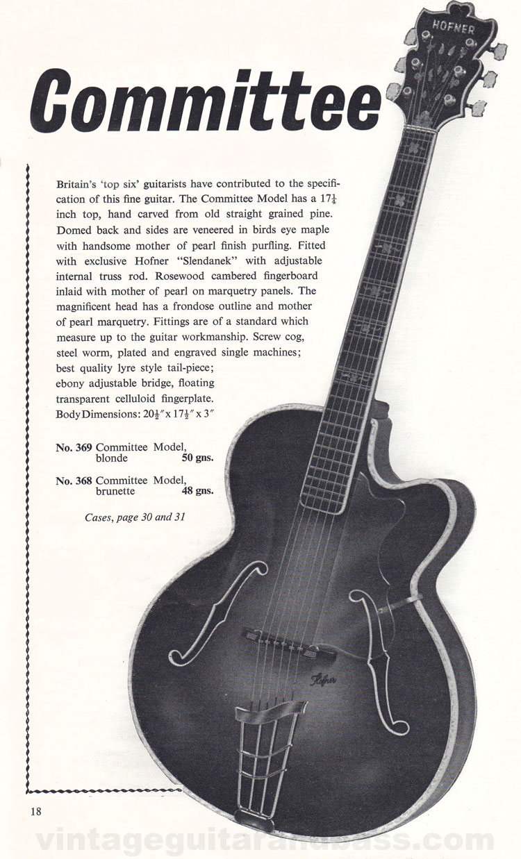 1960 Selmer Catalogue page 18 - Hofner Committee (acoustic)