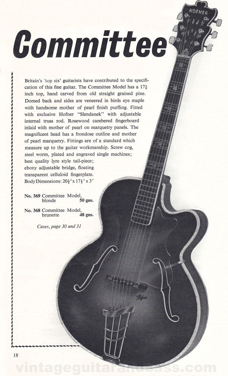 1960 Selmer Hofner guitar catalog page 18 - details of the acoustic Hofner Committee guitar