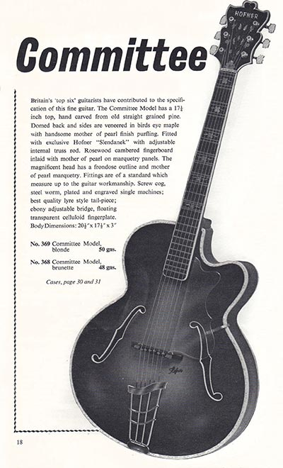 1960 Selmer guitar and bass catalogue page 18