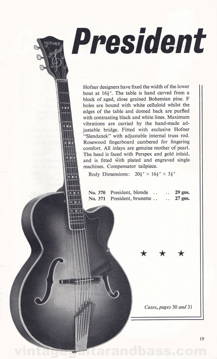 1960 Selmer Hofner guitar catalog page 19 - details of the acoustic Hofner President guitar
