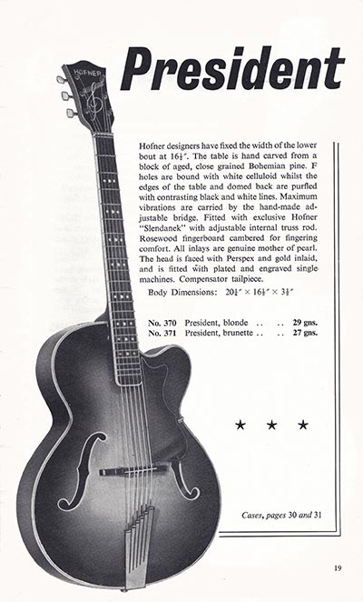 1960 Selmer guitar and bass catalogue page 19