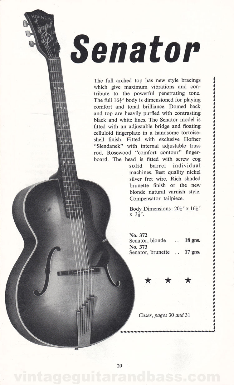 1960 Selmer Catalogue page 20 - Hofner Senator acoustic