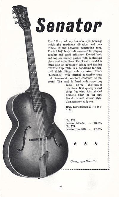 1960 Selmer guitar and bass catalogue page 20
