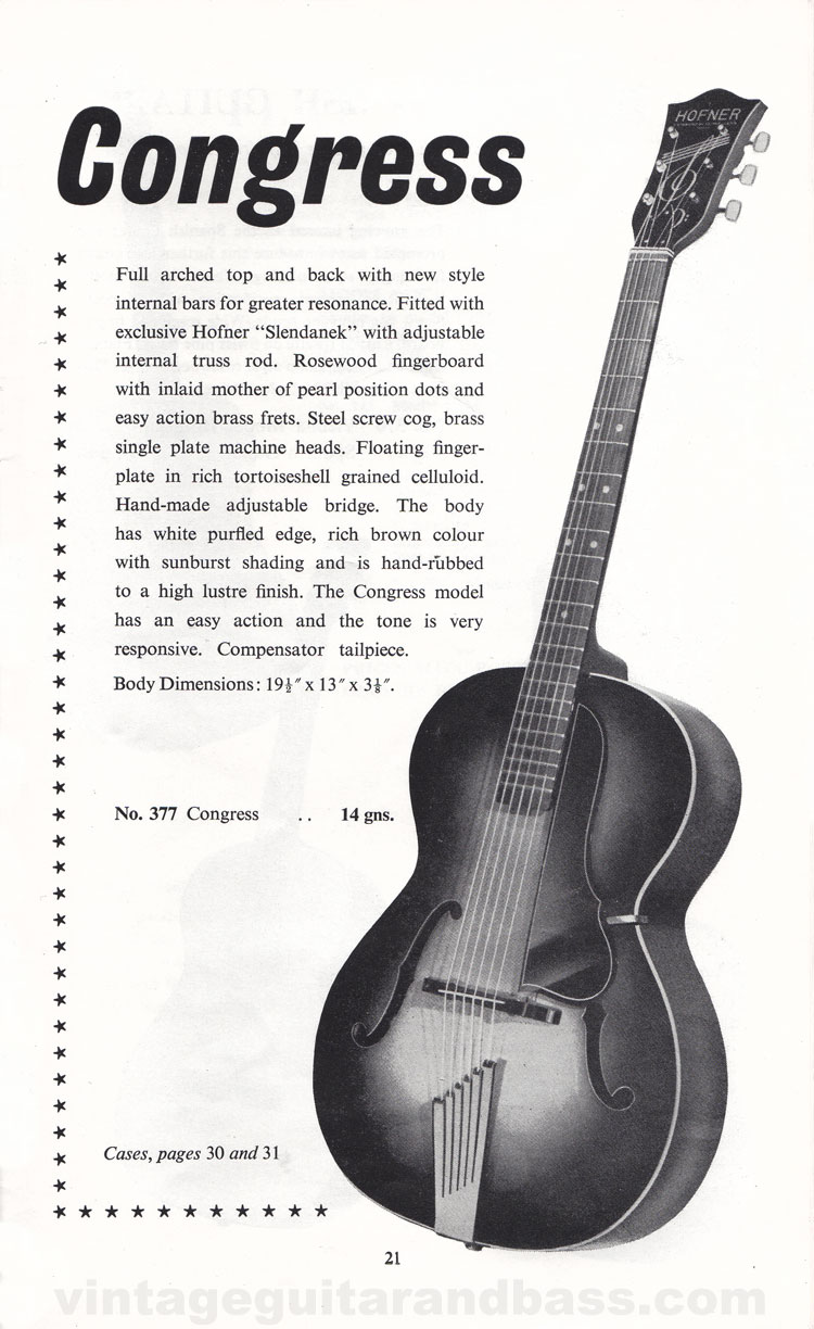 1960 Selmer Hofner guitar catalog page 21 - details of the acoustic Hofner Congress guitar