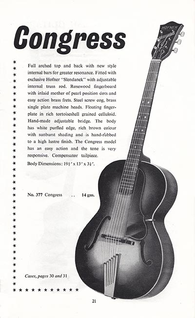 1960 Selmer guitar and bass catalogue page 21