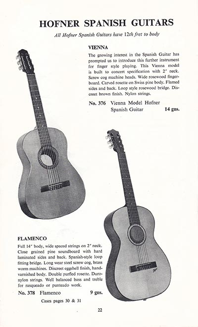 1960 Selmer guitar and bass catalogue page 22
