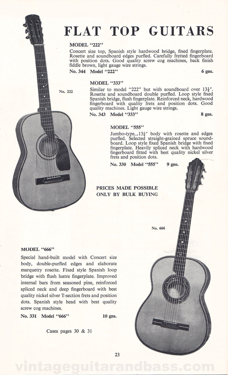 1960 Selmer Catalogue page 23 - Selmer 222, 333, 555 and 666