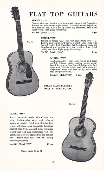 1960 Selmer guitar and bass catalogue page 23