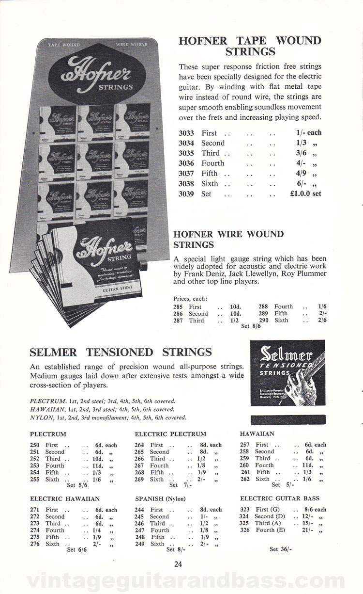 1960 Selmer Catalogue page 24 - Hofner and Selmer guitar strings
