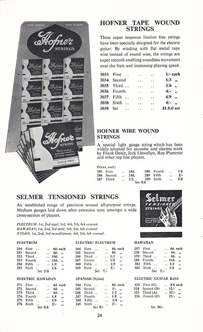 1960 Selmer guitar and bass catalogue page 24