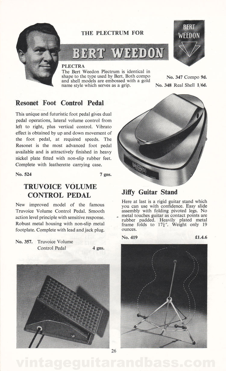 1960 Selmer Hofner guitar catalog page 26 - details of Selmer accessories