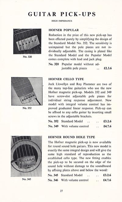 1960 Selmer guitar and bass catalogue page 27