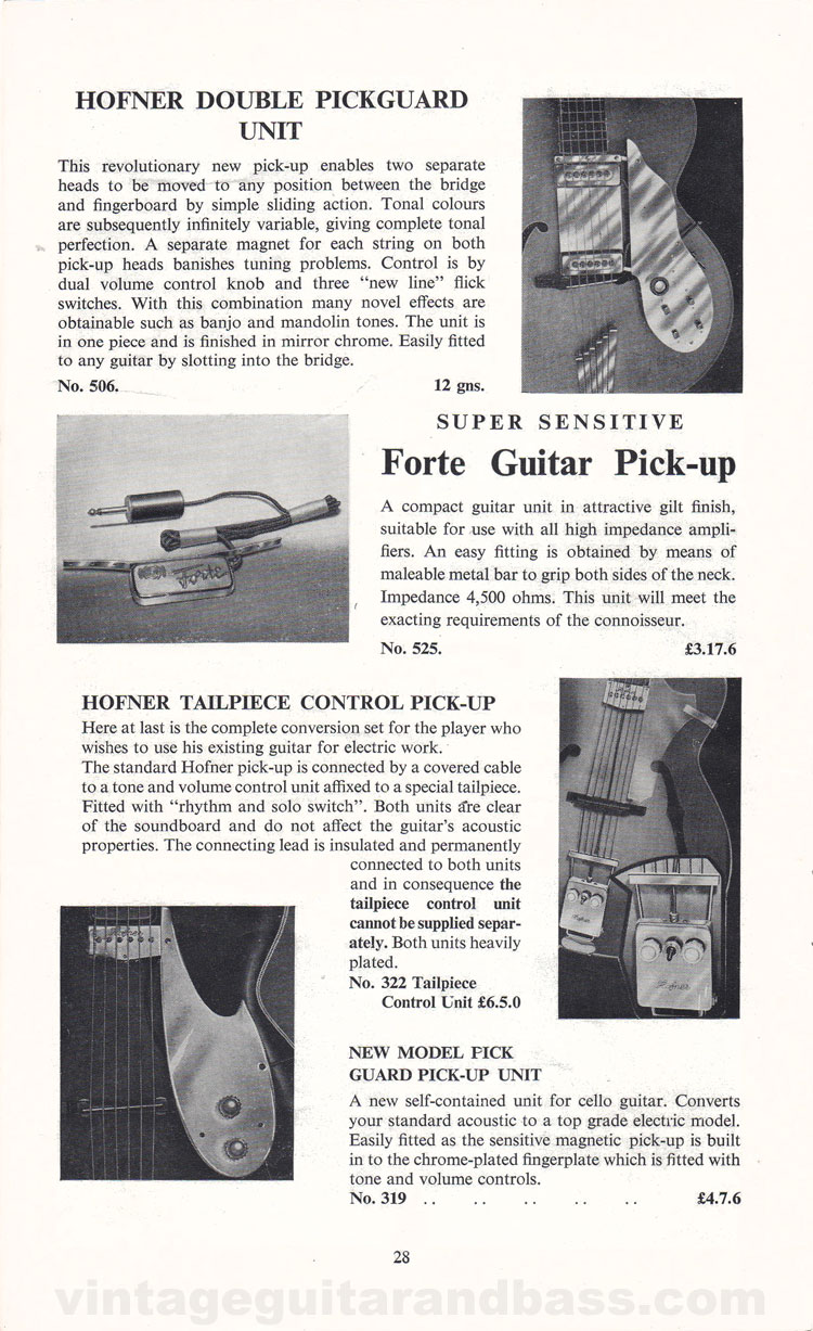 1960 Selmer Hofner guitar catalog page 28 - details of the Hofner double pickguard unit, Forte pickup and tailpiece control pickup