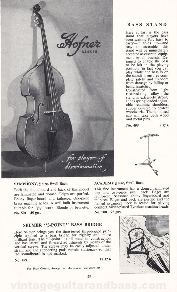 1960 Selmer Catalogue page 29 - Hofner upright basses