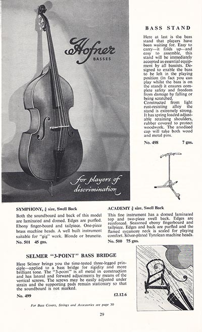 1960 Selmer guitar and bass catalogue page 29