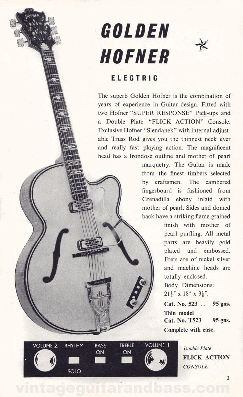 1960 Selmer Catalogue page 3 -  Golden Hofner