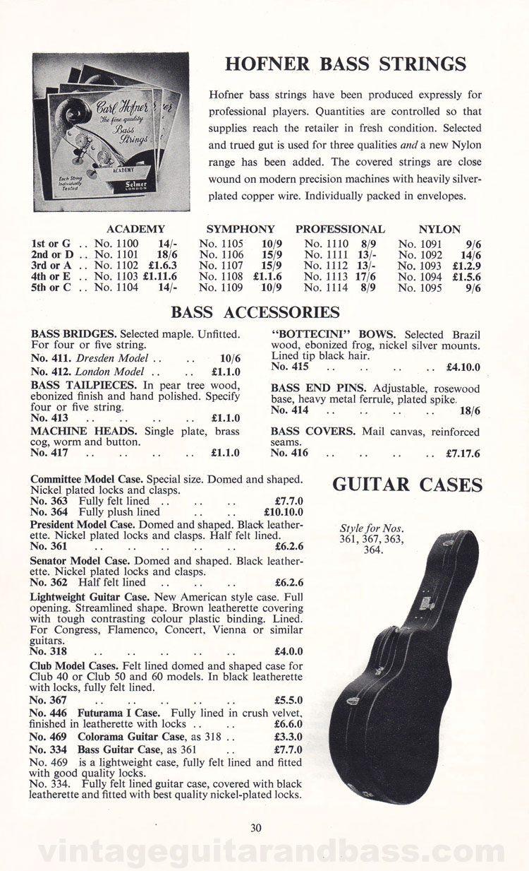 1960 Selmer Hofner guitar catalog page 30 - details of the Hofner upright bass strings and accessories