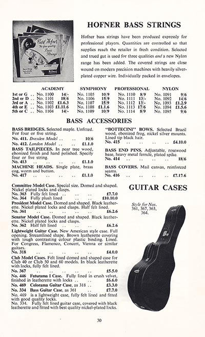 1960 Selmer guitar and bass catalogue page 30