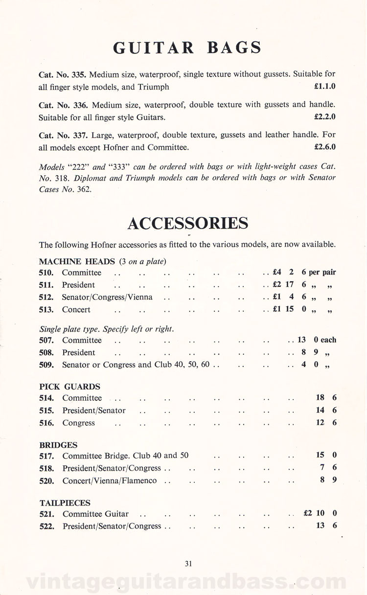 1960 Selmer Catalogue page 31 - Guitar bags and Hofner spare parts
