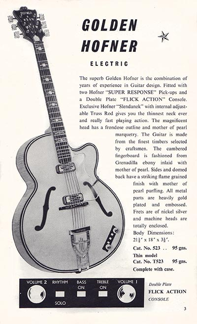1960 Selmer guitar and bass catalogue page 3