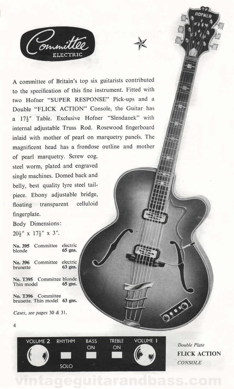 1960 Selmer Catalogue page 4 - Hofner Committee