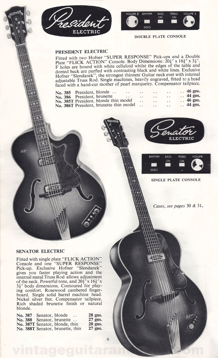 1960 Selmer Catalogue page 6 - Hofner President and Senator guitars