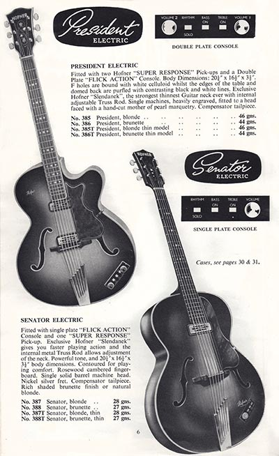 1960 Selmer guitar and bass catalogue page 6