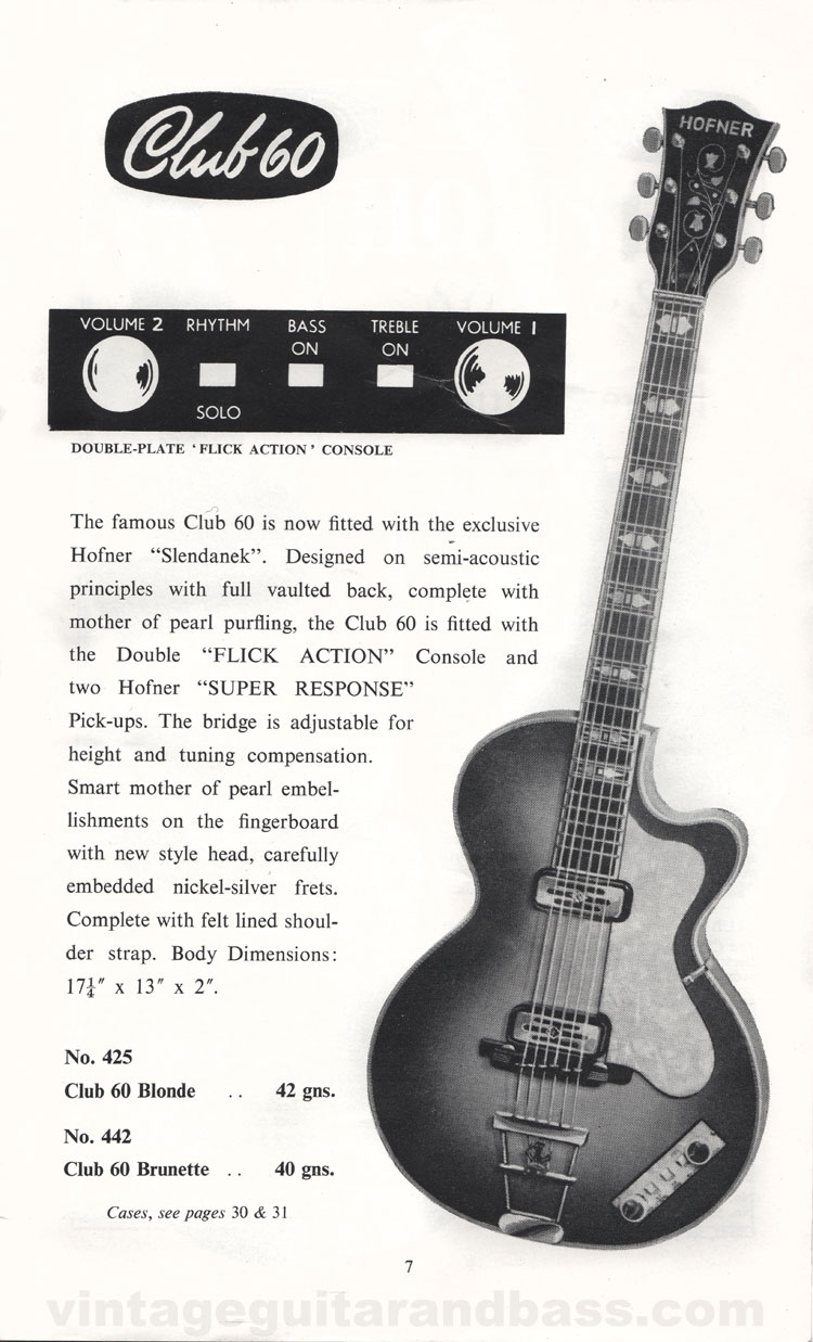 1960 Selmer Hofner guitar catalog page 6 - details of the Hofner Club 60 guitar