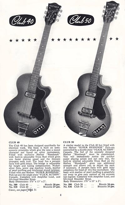 1960 Selmer guitar and bass catalogue page 8