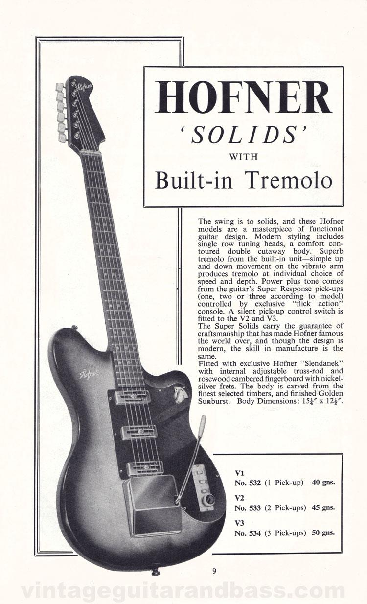 1960 Selmer Hofner guitar catalog page 6 - details of the Hofner V1, V2 and V3 solid body guitars