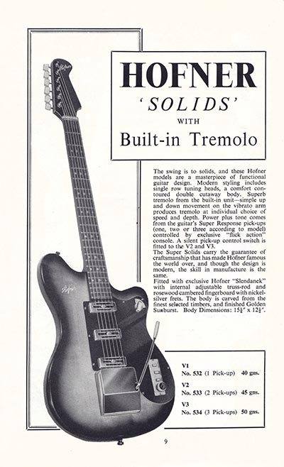 1960 Selmer guitar and bass catalogue page 9