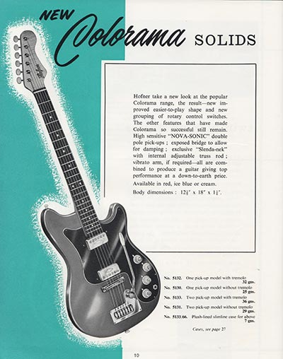 1964 Selmer guitar and bass catalogue page 10