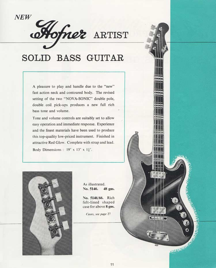 1964 Selmer Catalogue page 11 - Hofner Artist bass