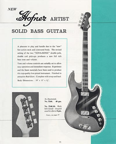 1964 Selmer guitar and bass catalogue page 11