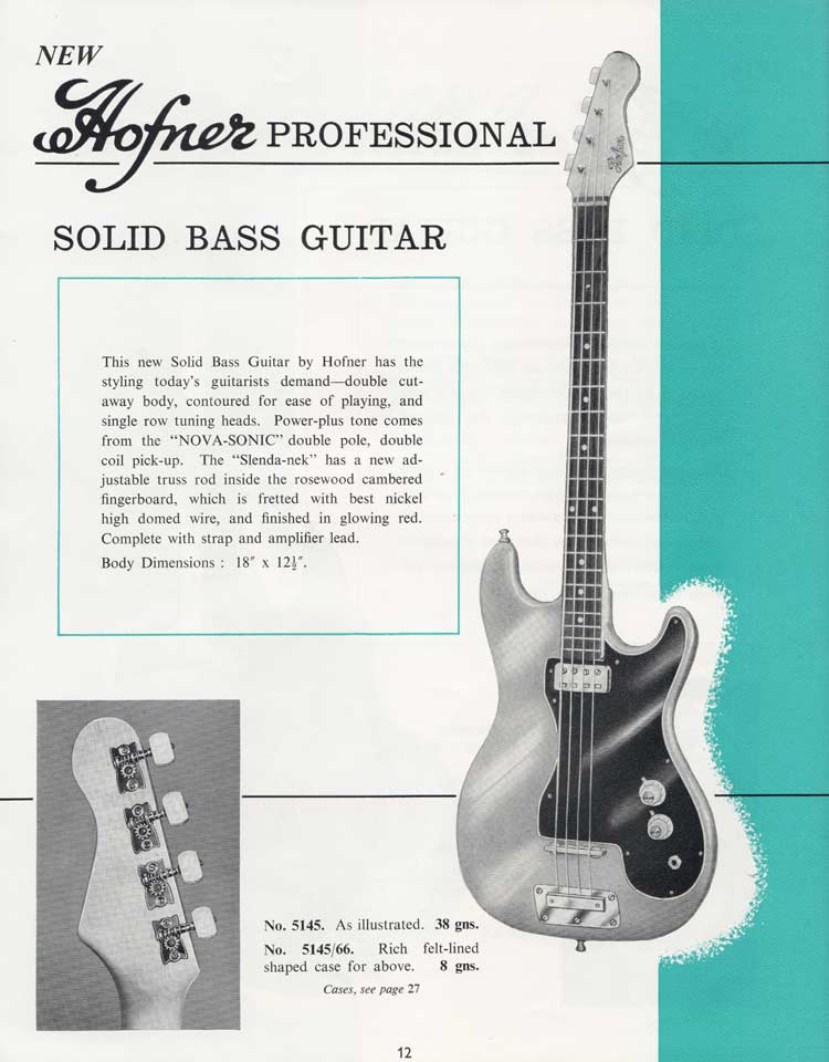 1964 Selmer Catalogue page 12 - Hofner Professional bass