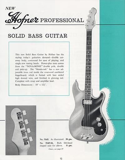 1964 Selmer guitar and bass catalogue page 12