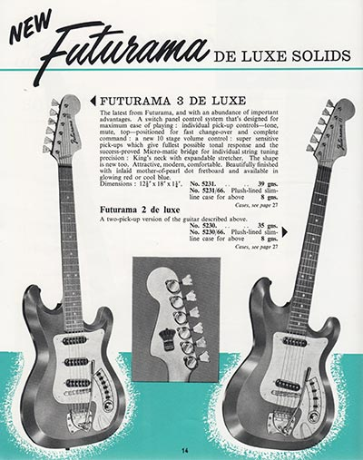 1964 Selmer guitar and bass catalogue page 14
