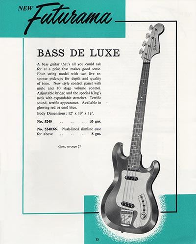 1964 Selmer guitar and bass catalogue page 15